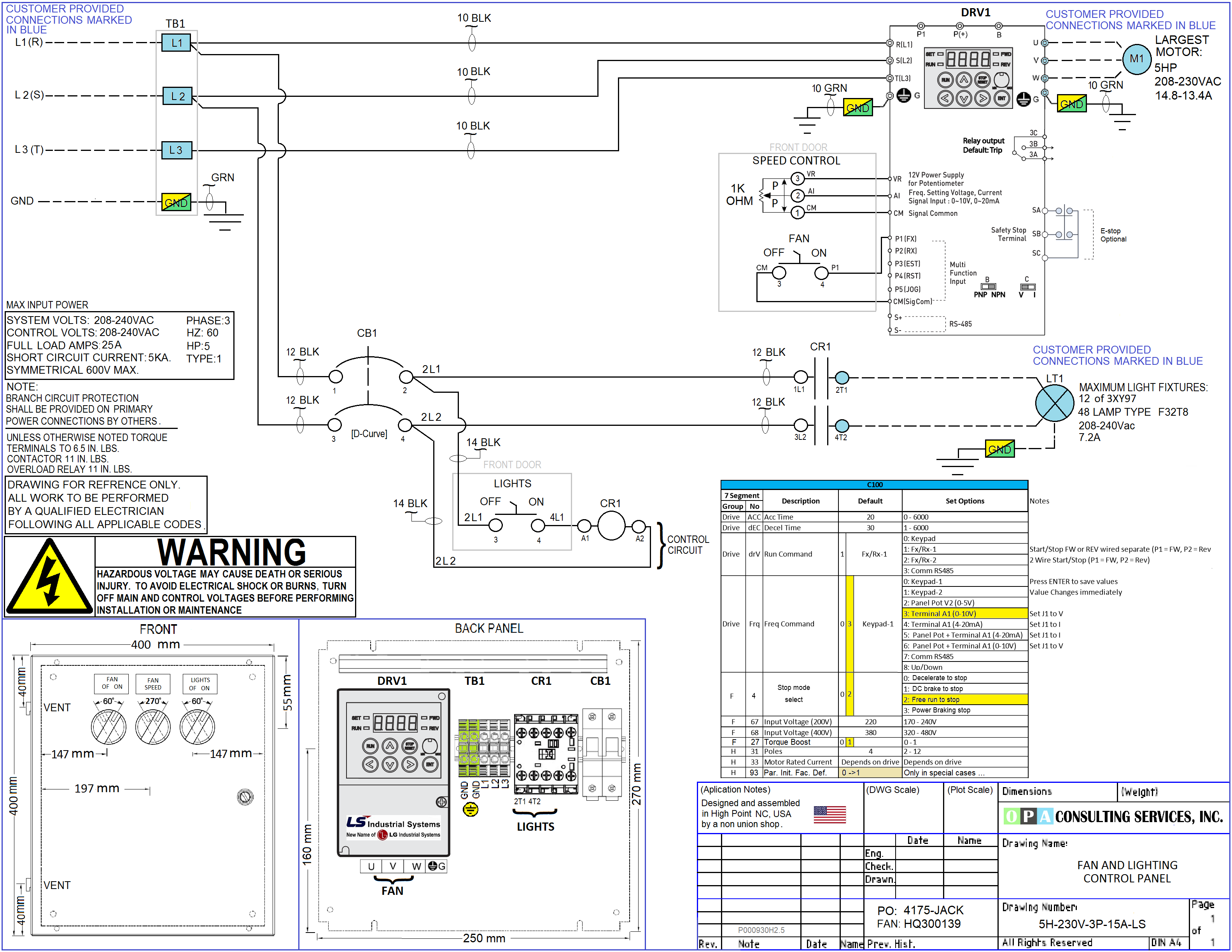 Paint Booth VFD Control Panel Drawing ... Free to Download