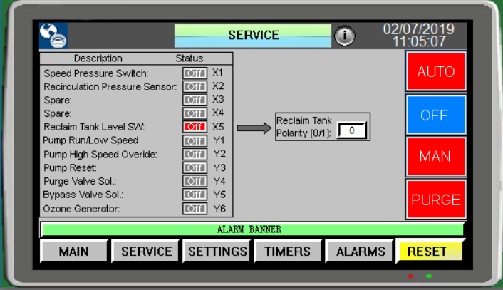 Self Cleaning Multi-Hydrocyclone Controller Screen Descriptions